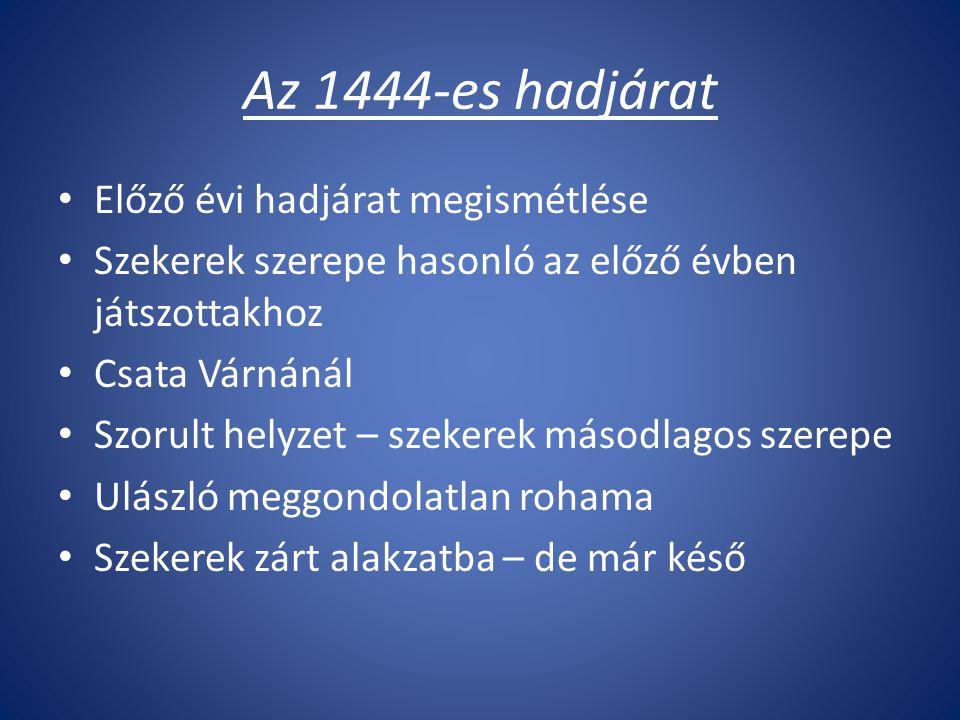 Az 1444-es hadjárat Előző évi hadjárat megismétlése