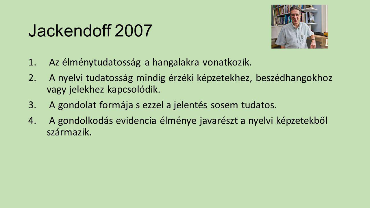 Jackendoff 2007 Az élménytudatosság a hangalakra vonatkozik.