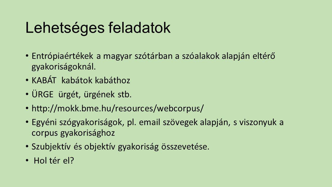 Lehetséges feladatok Entrópiaértékek a magyar szótárban a szóalakok alapján eltérő gyakoriságoknál.