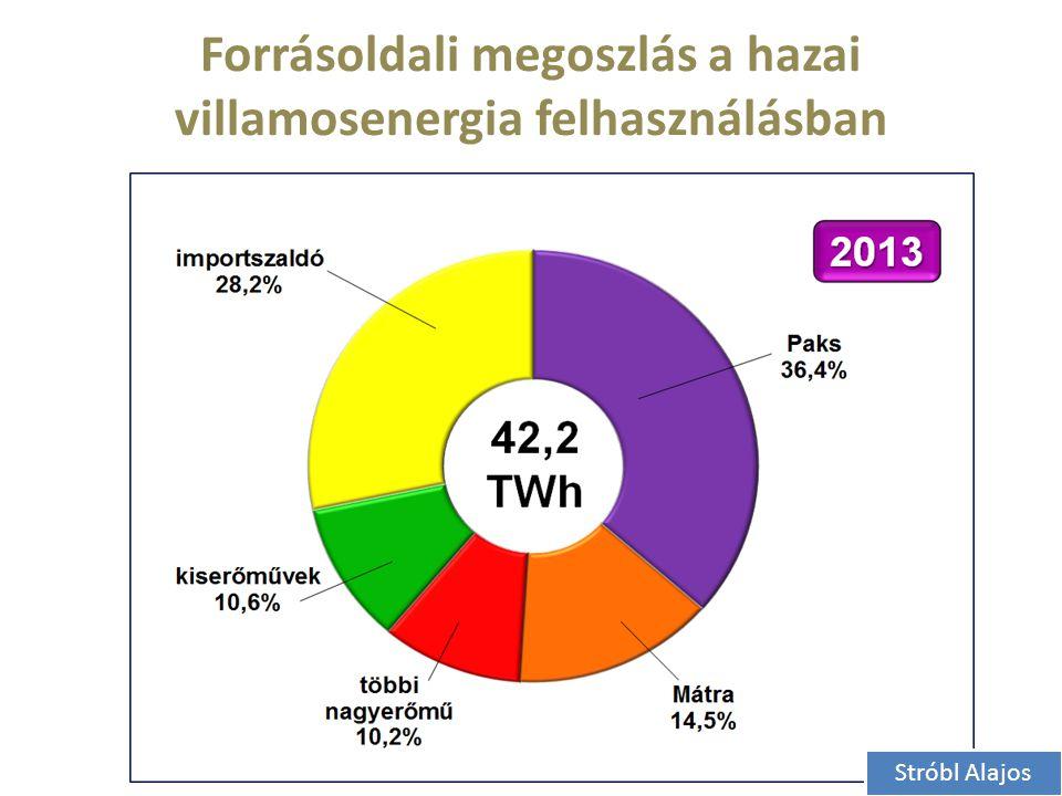 Forrásoldali megoszlás a hazai villamosenergia felhasználásban