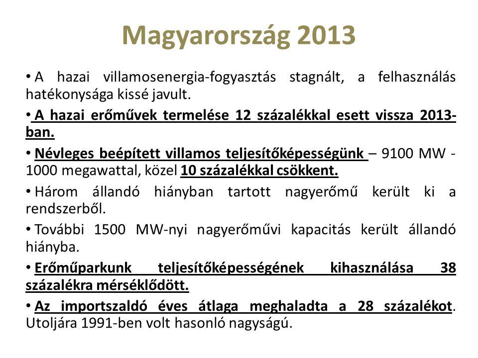 Magyarország 2013 A hazai villamosenergia-fogyasztás stagnált, a felhasználás hatékonysága kissé javult.