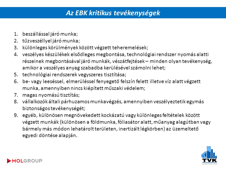 Az EBK kritikus tevékenységek