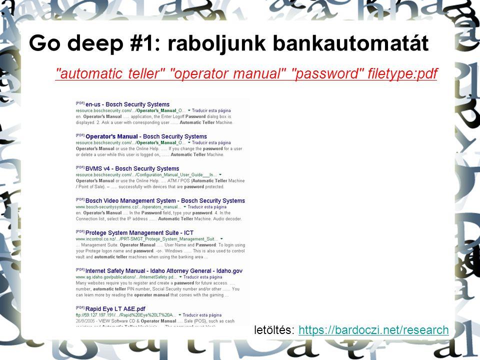 Go deep #1: raboljunk bankautomatát