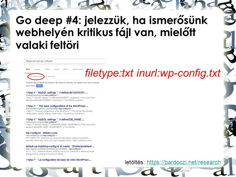 filetype:txt inurl:wp-config.txt