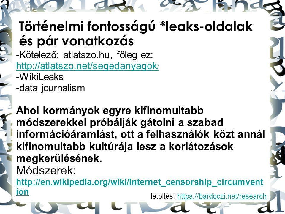 Történelmi fontosságú *leaks-oldalak és pár vonatkozás