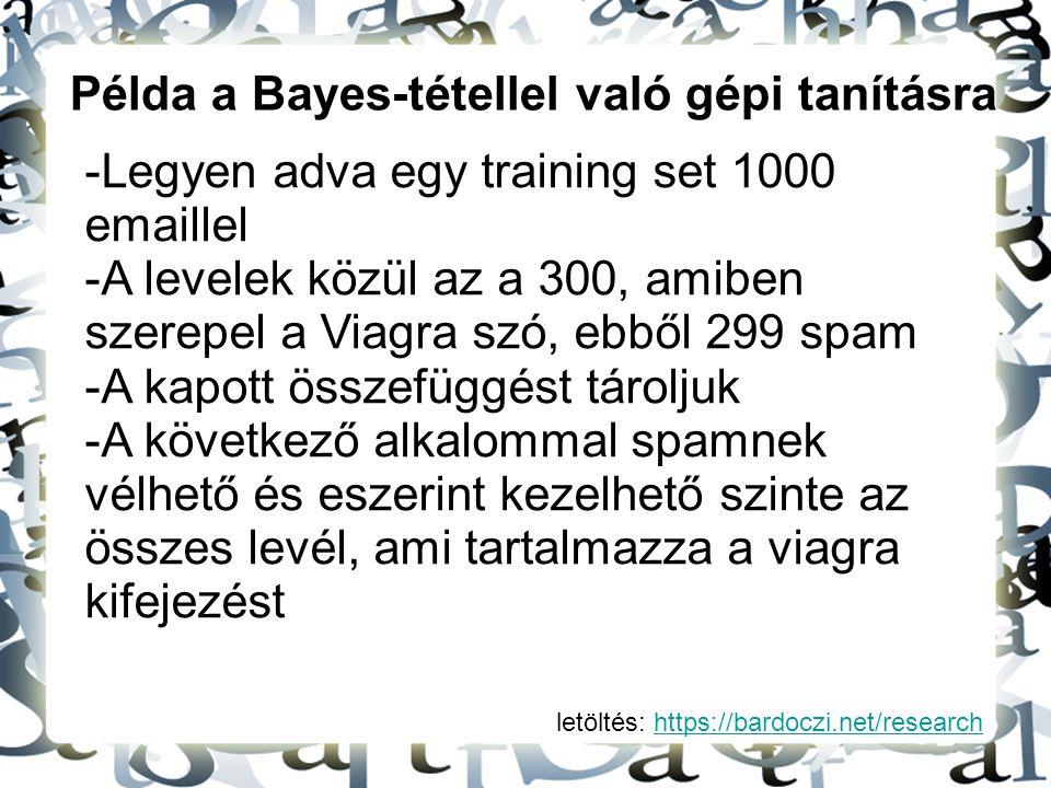 Példa a Bayes-tétellel való gépi tanításra