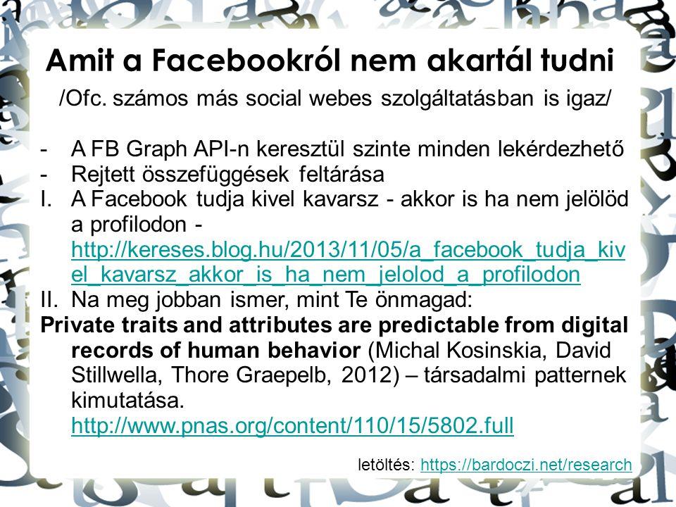 /Ofc. számos más social webes szolgáltatásban is igaz/