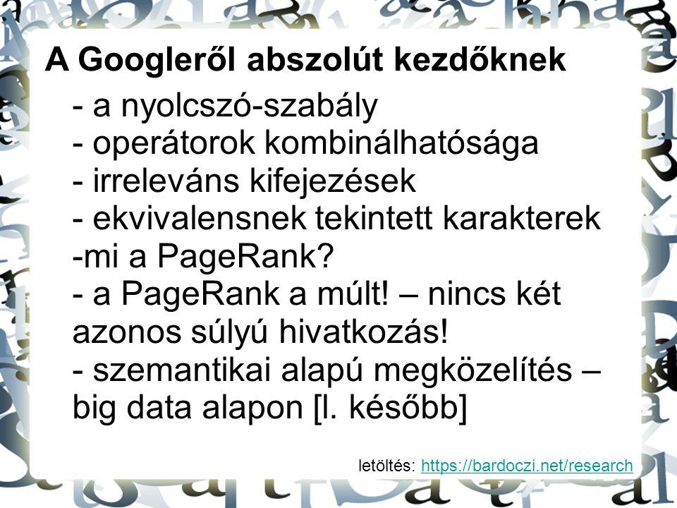 A Googleről abszolút kezdőknek a nyolcszó-szabály