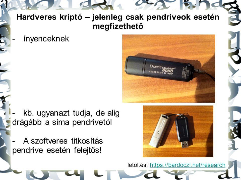 Hardveres kriptó – jelenleg csak pendriveok esetén megfizethető