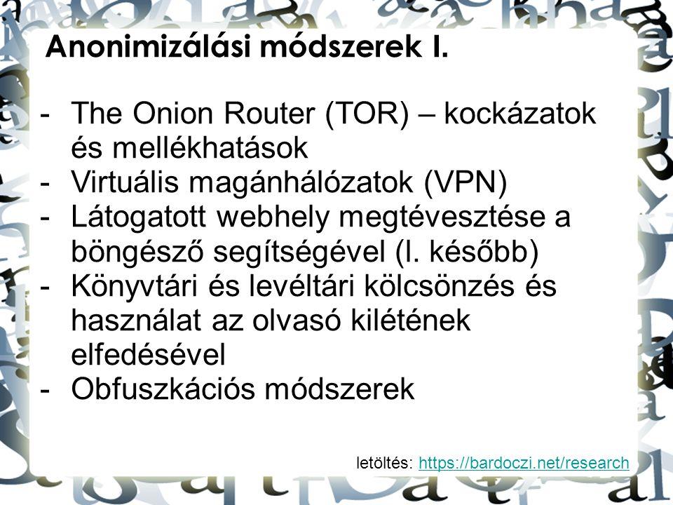 Anonimizálási módszerek I.