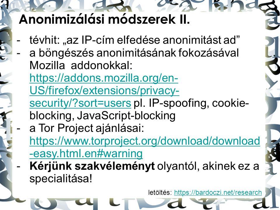 Anonimizálási módszerek II.