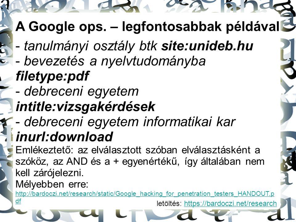 A Google ops. – legfontosabbak példával