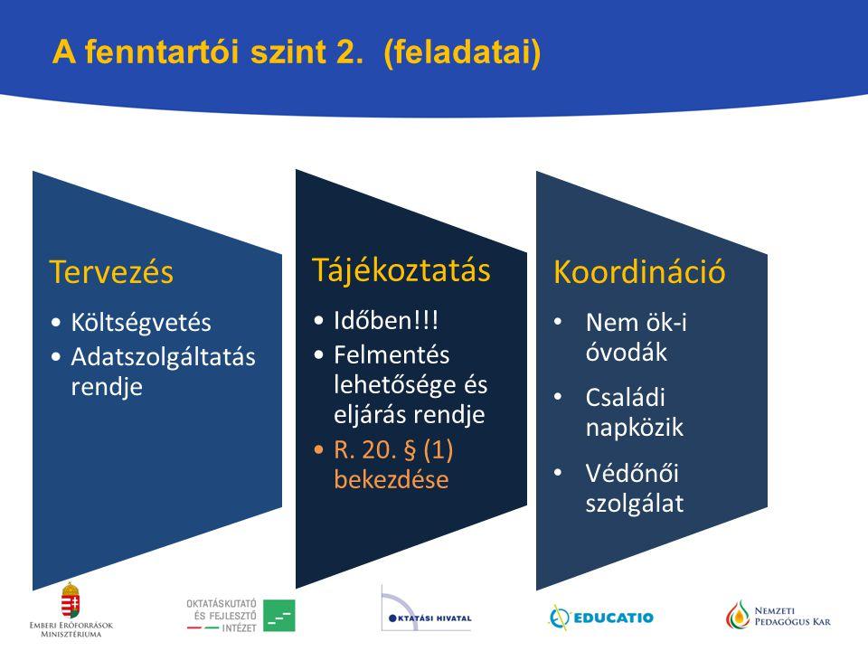 A fenntartói szint 2. (feladatai)