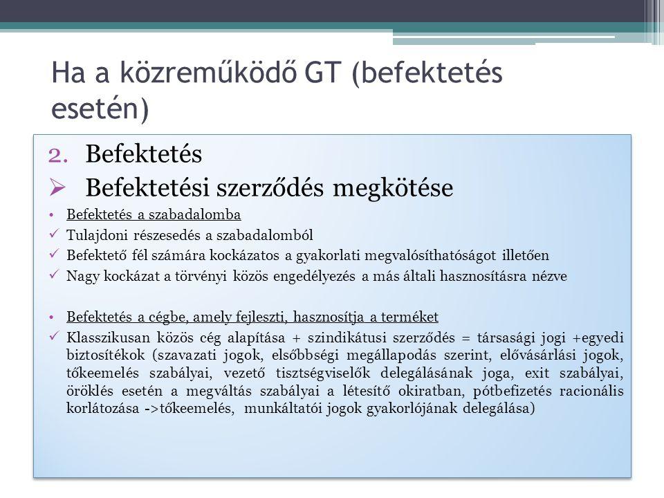 Ha a közreműködő GT (befektetés esetén)