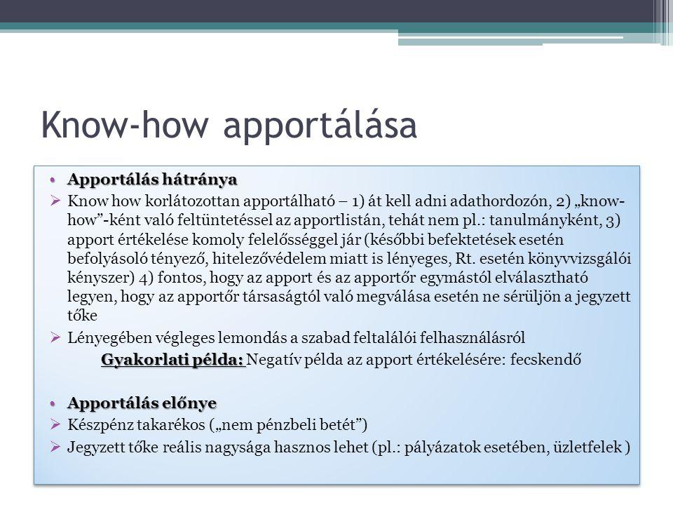 Gyakorlati példa: Negatív példa az apport értékelésére: fecskendő