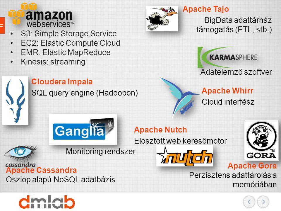 Apache Tajo BigData adattárház támogatás (ETL, stb.) S3: Simple Storage Service. EC2: Elastic Compute Cloud.