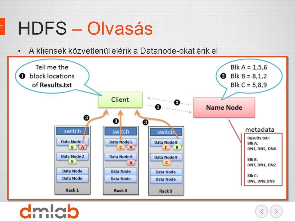 HDFS – Olvasás A kliensek közvetlenül elérik a Datanode-okat érik el