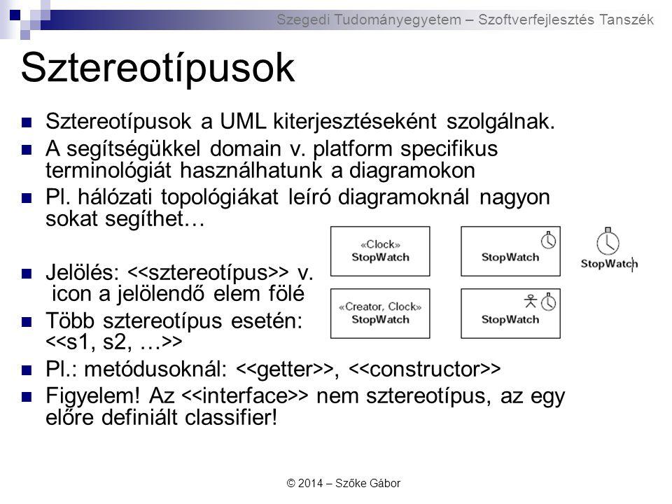Sztereotípusok Sztereotípusok a UML kiterjesztéseként szolgálnak.