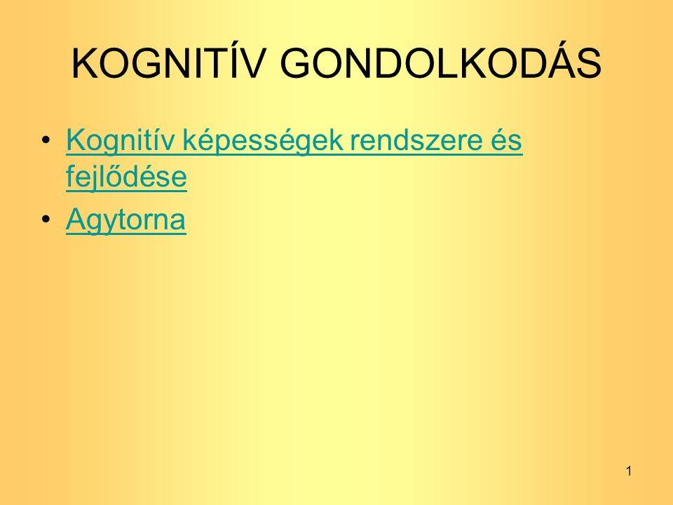 KOGNITÍV GONDOLKODÁS Kognitív képességek rendszere és fejlődése