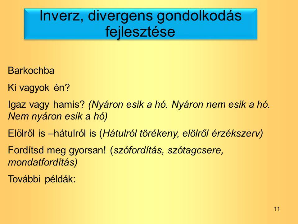 Inverz, divergens gondolkodás fejlesztése