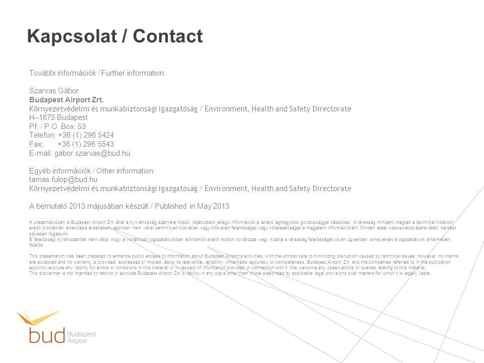 Kapcsolat / Contact További információk / Further information: