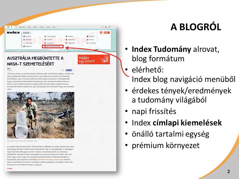 A BLOGRÓL Index Tudomány alrovat, blog formátum
