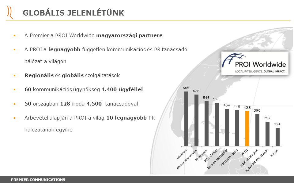 GLOBÁLIS JELENLÉTÜNK A Premier a PROI Worldwide magyarországi partnere
