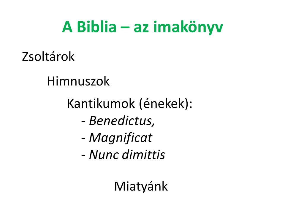 A Biblia – az imakönyv Zsoltárok Himnuszok Kantikumok (énekek):