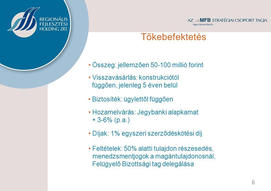 Tőkebefektetés Összeg: jellemzően 50-100 millió forint