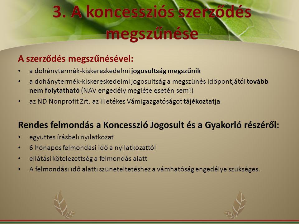 3. A koncessziós szerződés megszűnése
