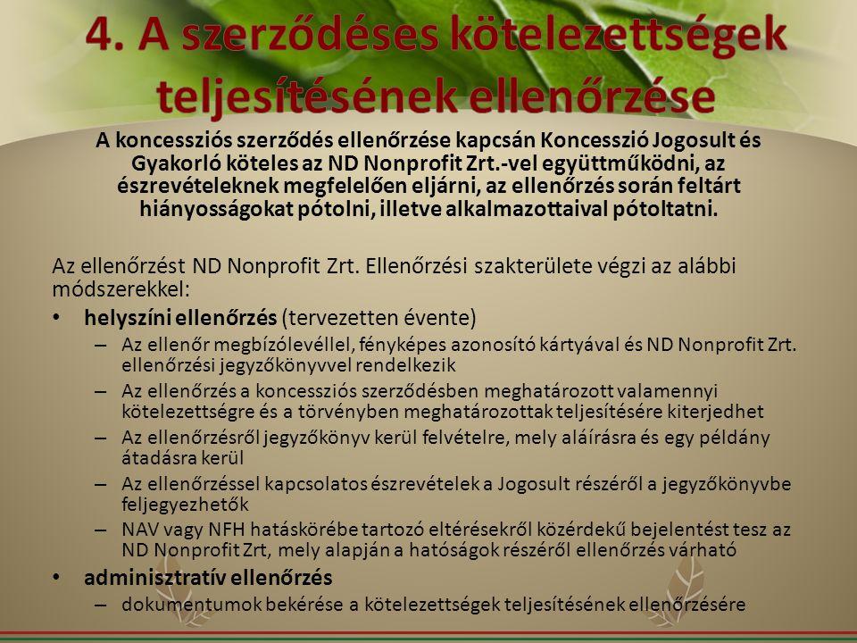 4. A szerződéses kötelezettségek teljesítésének ellenőrzése