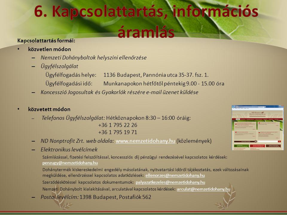 6. Kapcsolattartás, információs áramlás