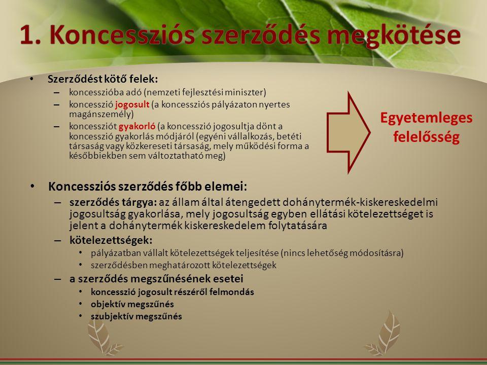 1. Koncessziós szerződés megkötése