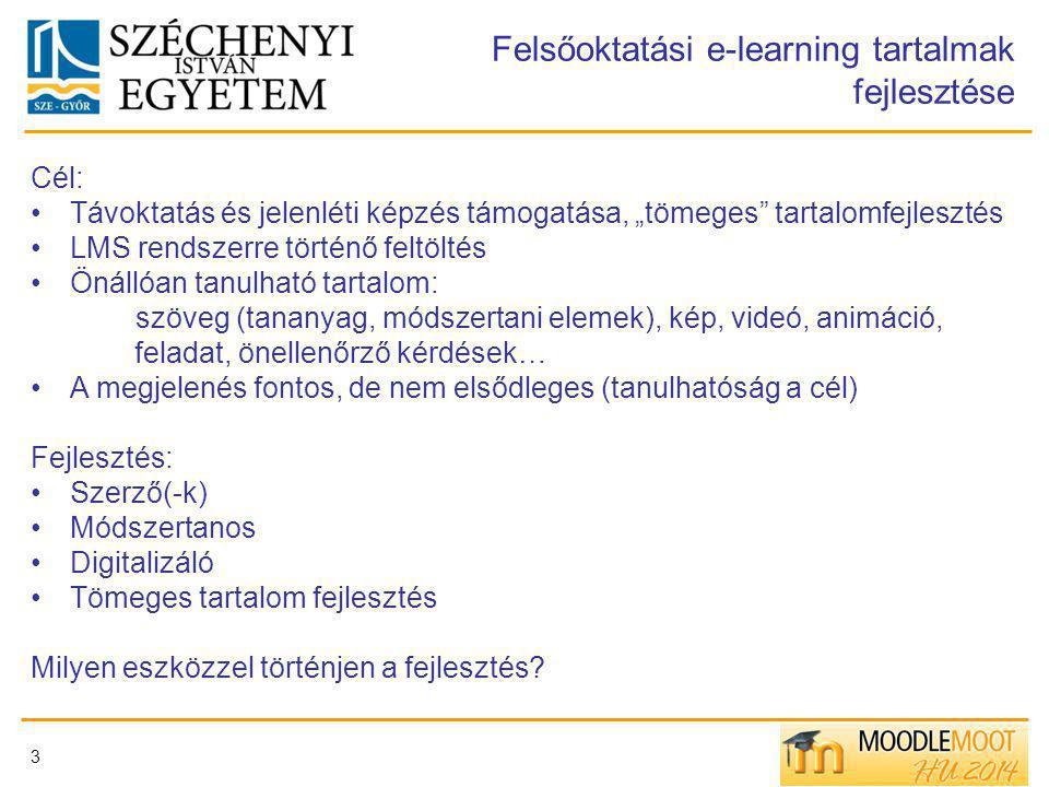 Felsőoktatási e-learning tartalmak fejlesztése