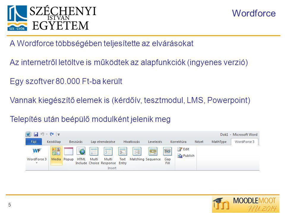 Wordforce A Wordforce többségében teljesítette az elvárásokat