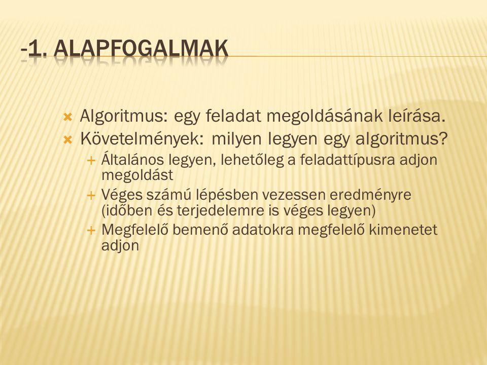 -1. Alapfogalmak Algoritmus: egy feladat megoldásának leírása.
