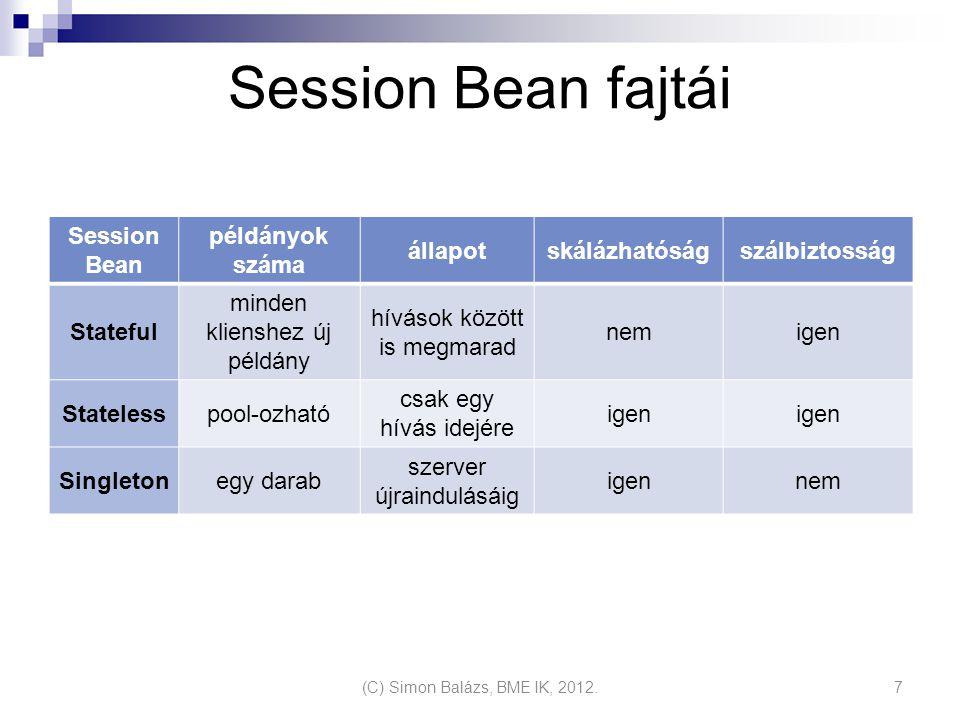 Session Bean fajtái Session Bean példányok száma állapot skálázhatóság