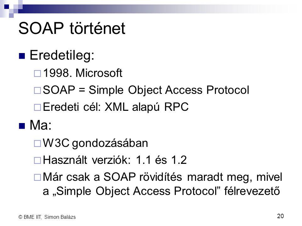 SOAP történet Eredetileg: Ma: 1998. Microsoft