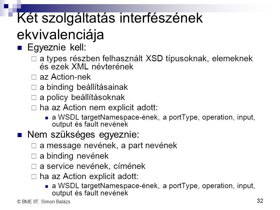 Két szolgáltatás interfészének ekvivalenciája