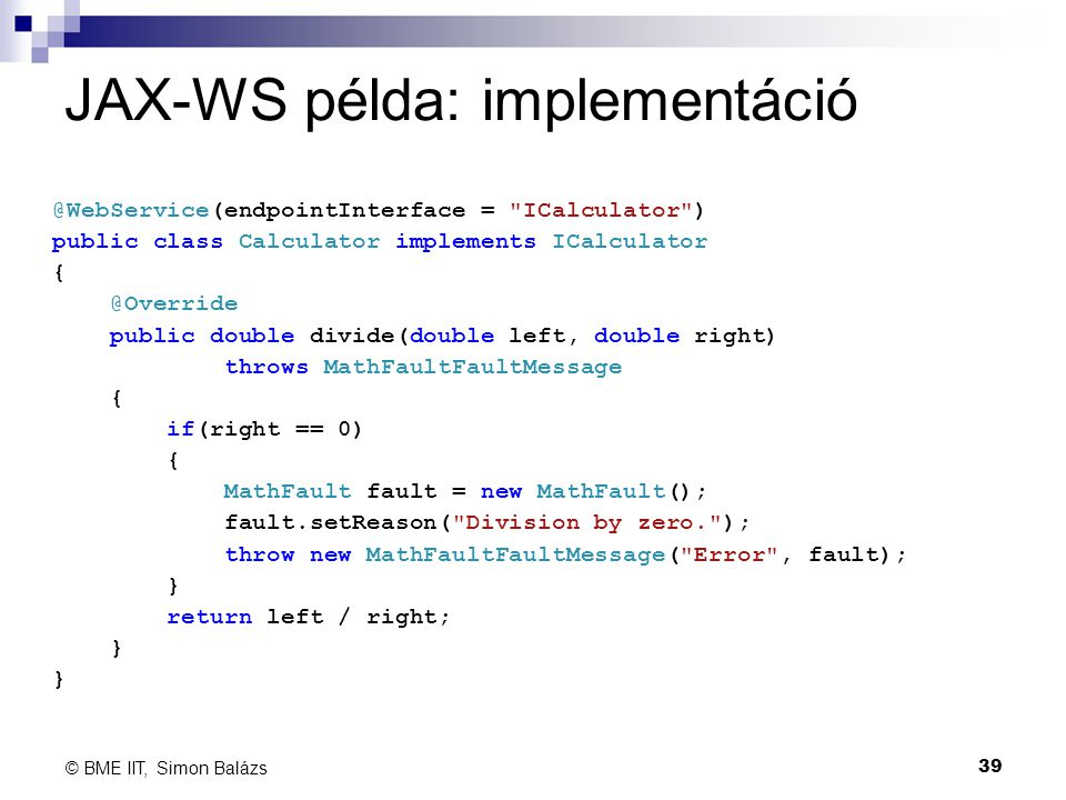 JAX-WS példa: implementáció