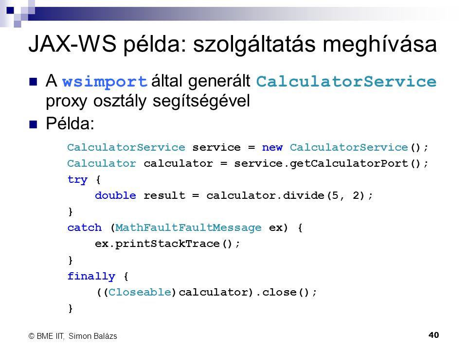 JAX-WS példa: szolgáltatás meghívása
