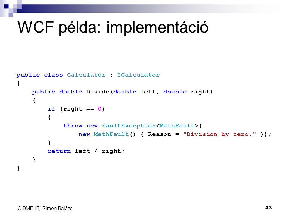 WCF példa: implementáció