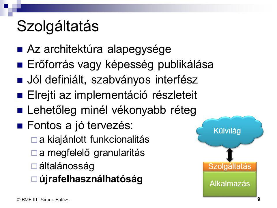 Szolgáltatás Az architektúra alapegysége