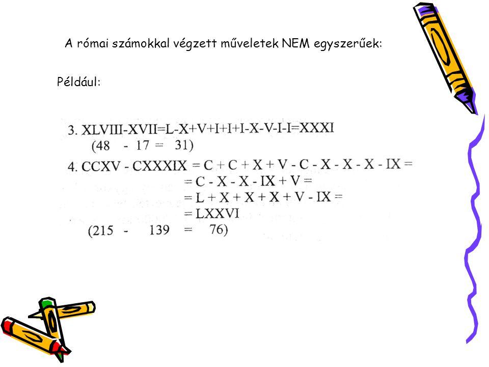 A római számokkal végzett műveletek NEM egyszerűek: