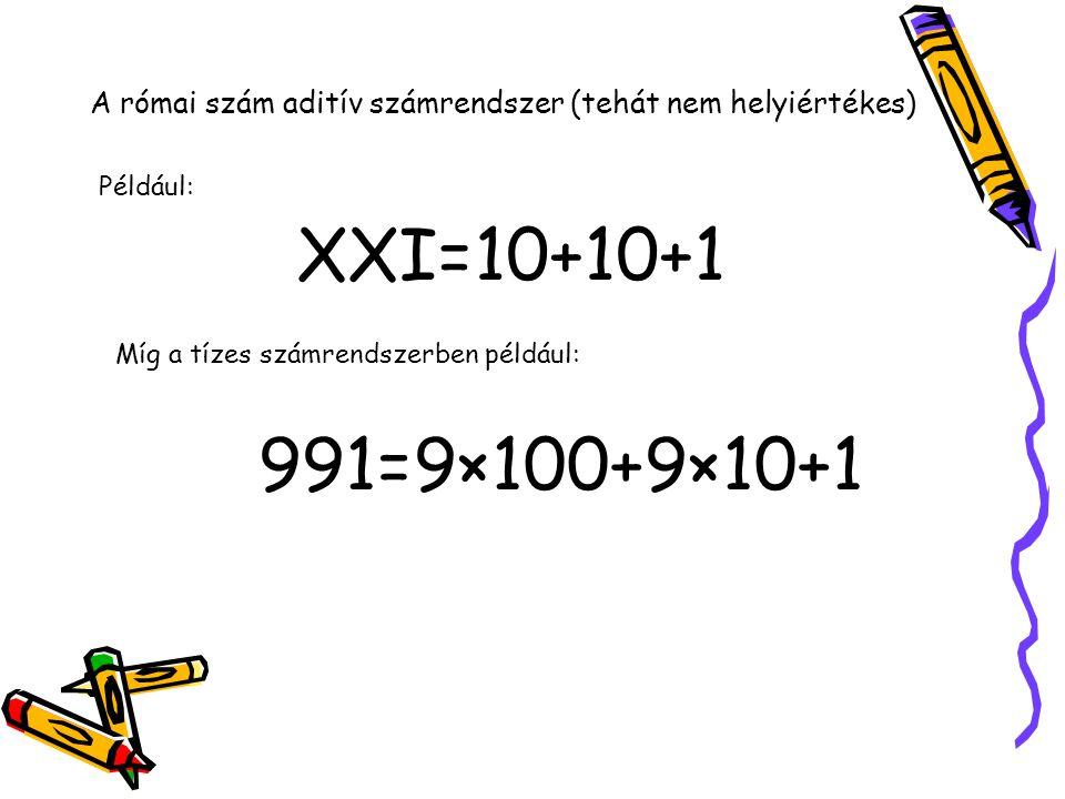 A római szám aditív számrendszer (tehát nem helyiértékes)
