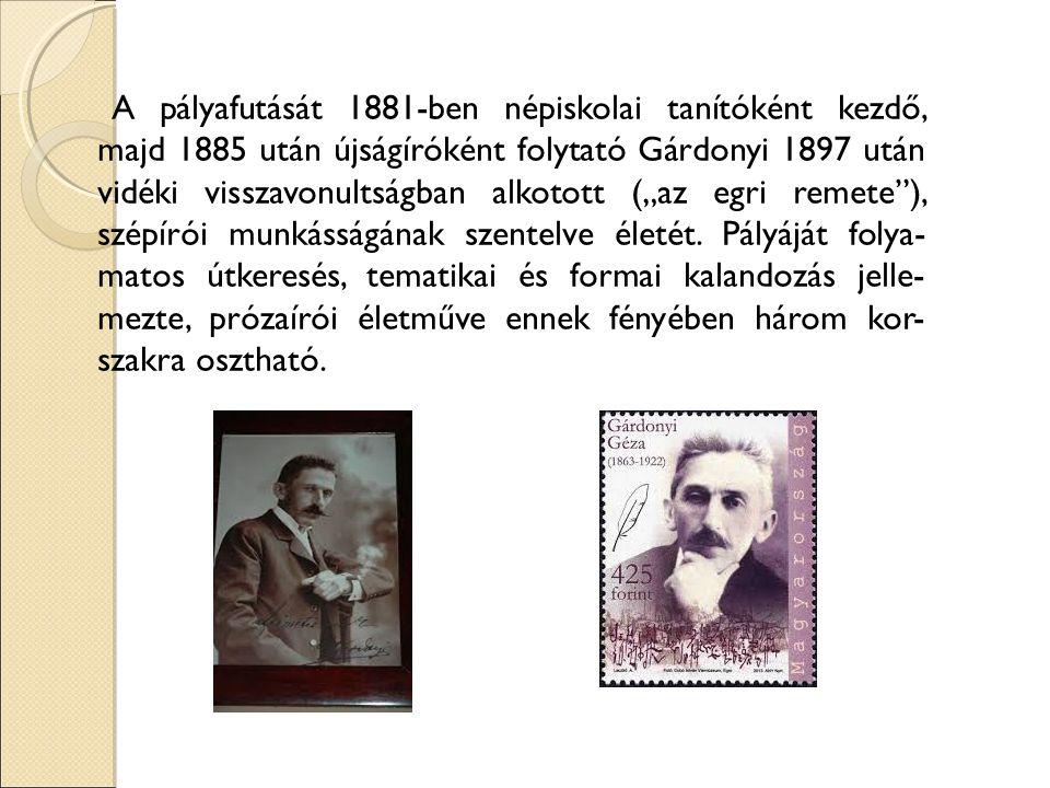 """A pályafutását 1881-ben népiskolai tanítóként kezdő, majd 1885 után újságíróként folytató Gárdonyi 1897 után vidéki visszavonultságban alkotott (""""az egri remete ), szépírói munkásságának szentelve életét."""