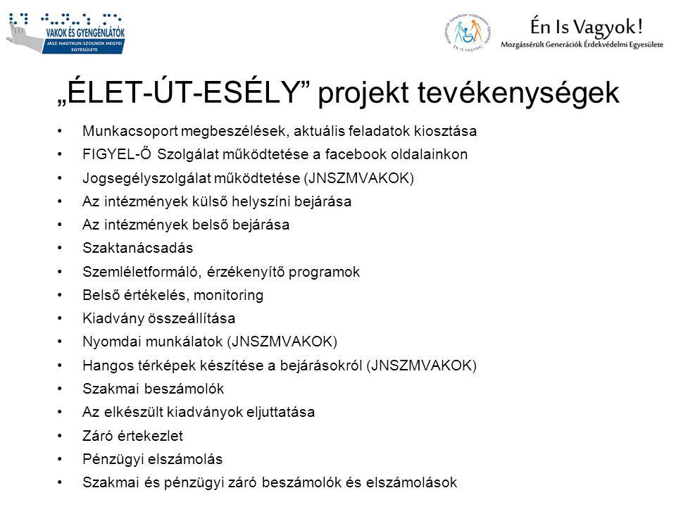 """""""ÉLET-ÚT-ESÉLY projekt tevékenységek"""