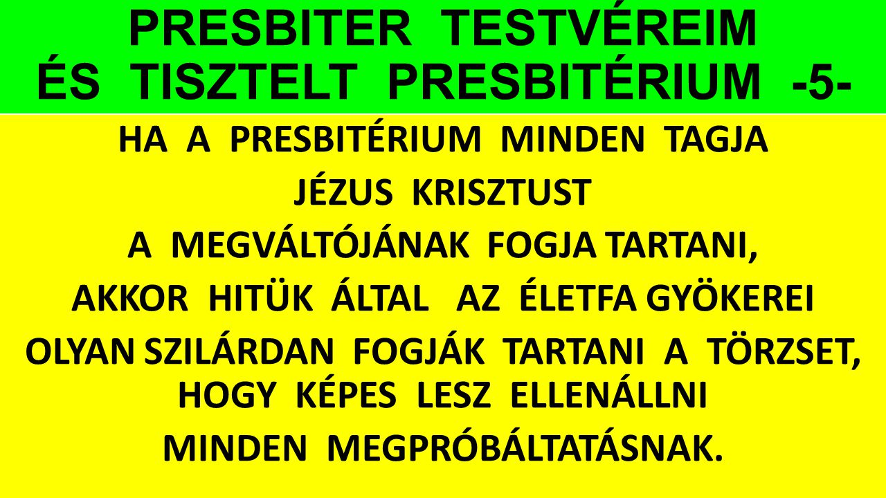 PRESBITER TESTVÉREIM ÉS TISZTELT PRESBITÉRIUM -5-