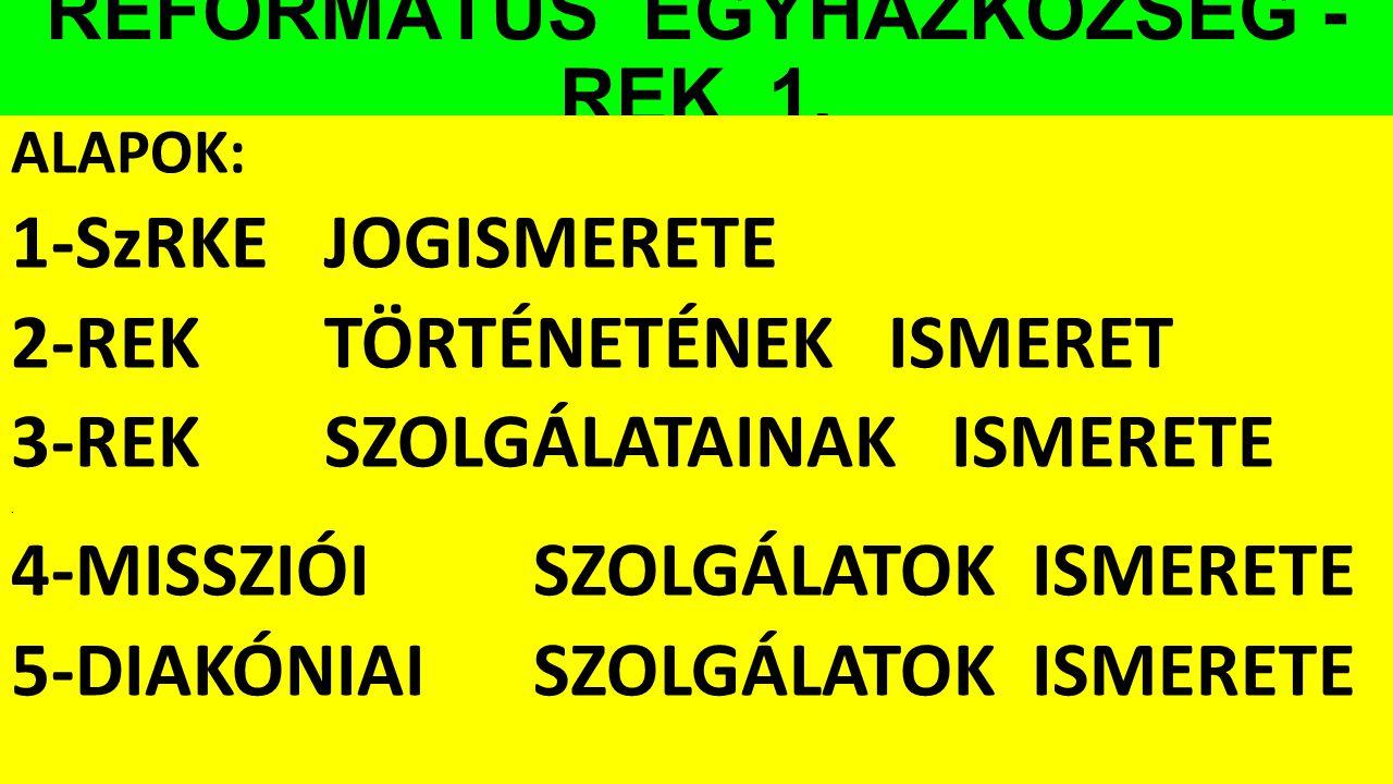 REFORMÁTUS EGYHÁZKÖZSÉG - REK 1.