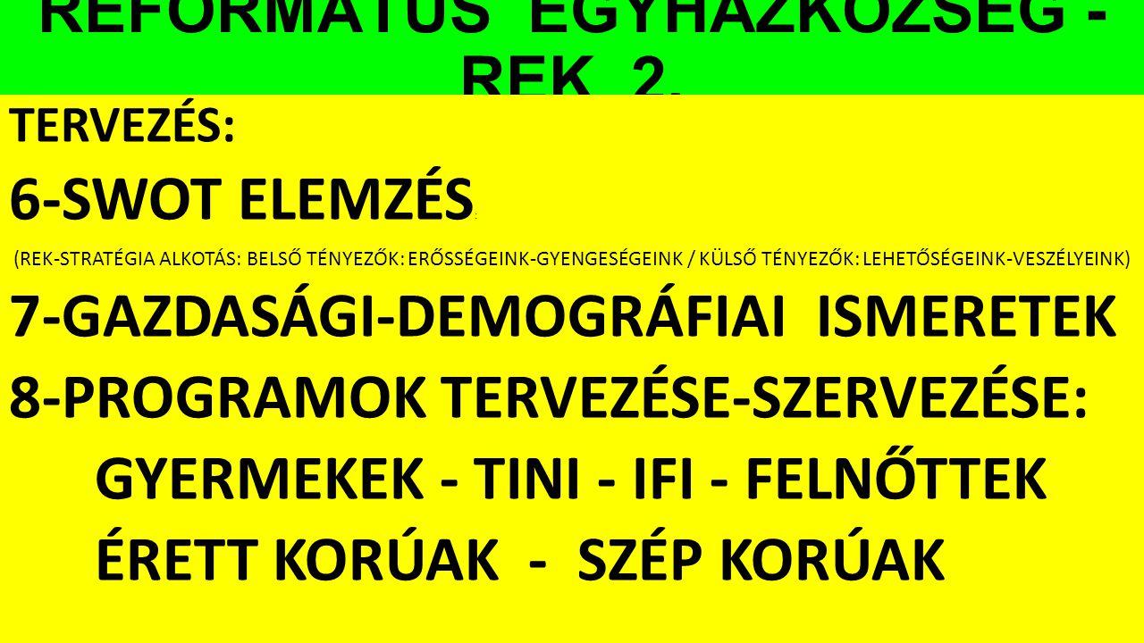 REFORMÁTUS EGYHÁZKÖZSÉG - REK 2.